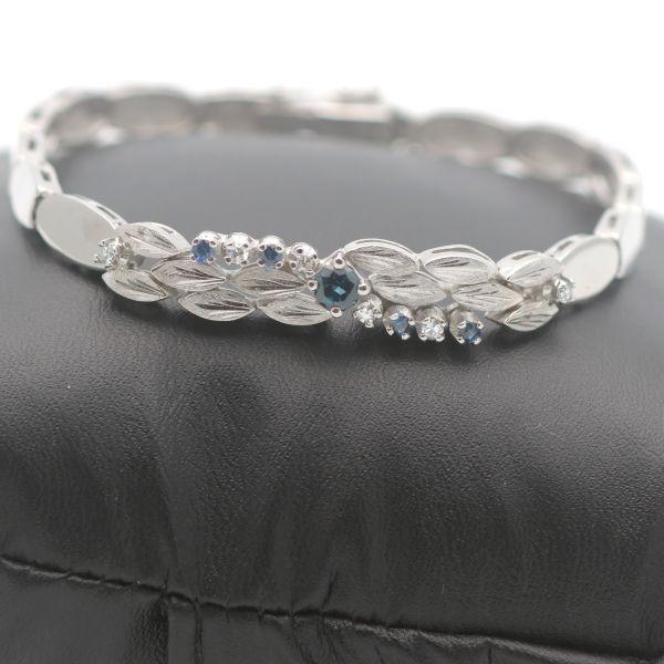 0,10 Ct Diamant Saphir Armband 585 Gold 14 Kt Weißgold Wert 2000,-