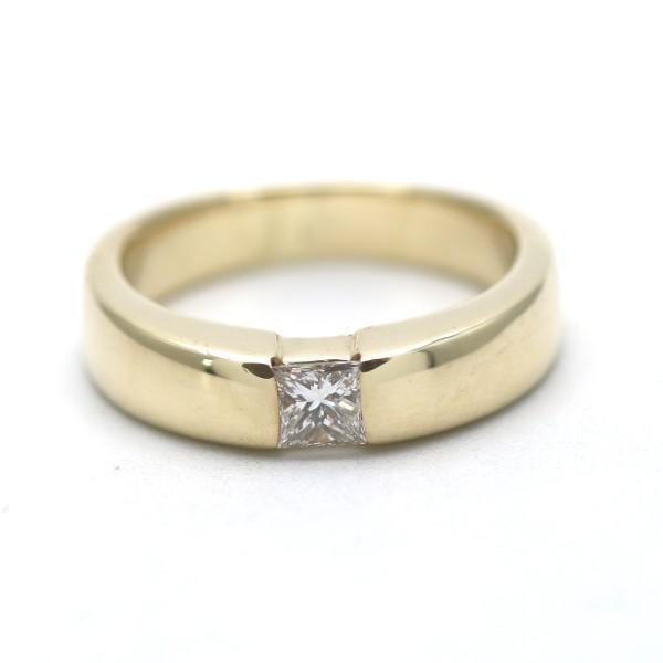 Solitär Spannring Ring 585 Gold 14 Karat Gelbgold Diamant Princess Wert 2500,-