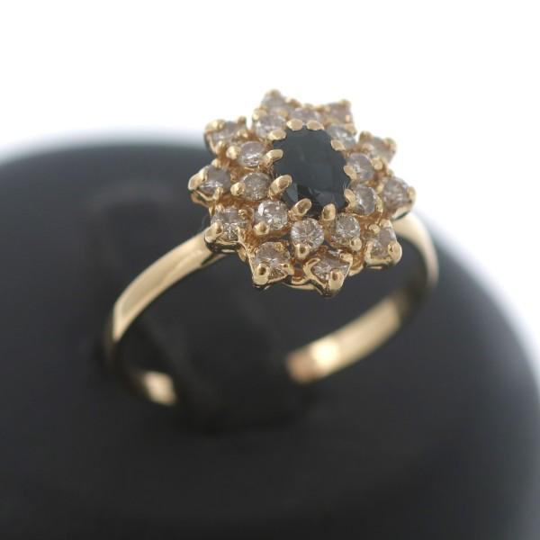 Diamant Ring Gold 750 Saphir 18 Kt Gelbgold Brillant 0,60 Ct Wert 1500,-