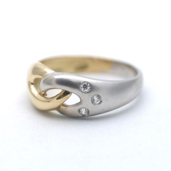 Bicolor Ring 750 Gold 18 Kt Edelstein Gelbgold Weißgold Wert 510,-