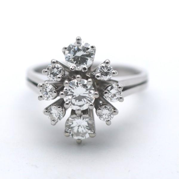 Brillant Ring 750 Gold 1,36 Ct Diamant 18 Kt Weißgold IF - VVS / G Wert 4990,-