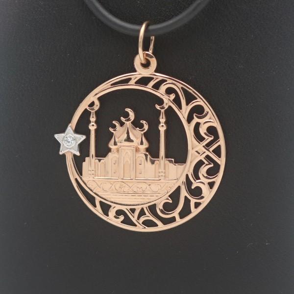 Kirche Anhänger 583 Gold 14 Kt Bicolor Orthodox Religion Zirkonia Wert 260,-