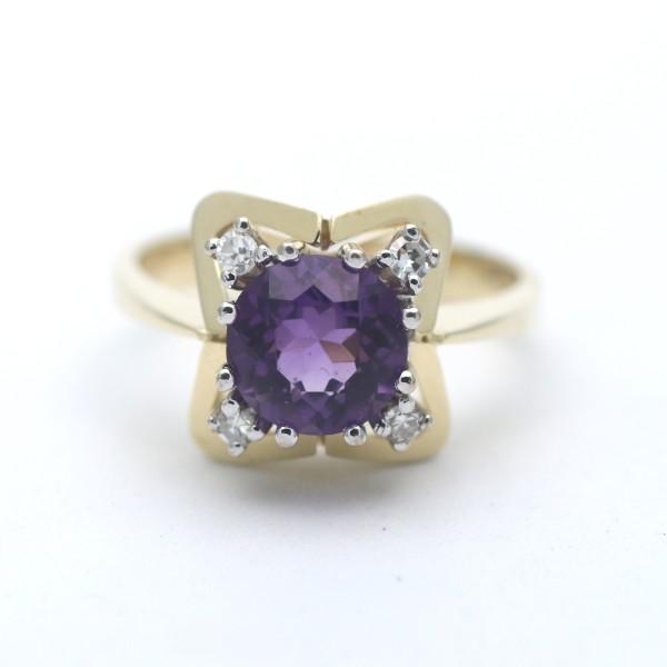 Diamant Amethyst Ring 585 Gold 14 Kt Bicolor 0.20 Ct Edelstein Wert 1200,-