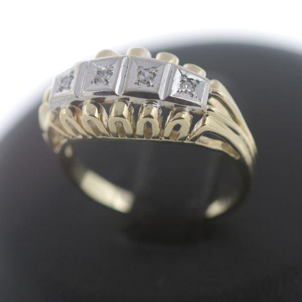 Diamant Ring 585 Gold 14 Kt Bicolor Gelbgold Weißgold 0,06 CtWert 560,-