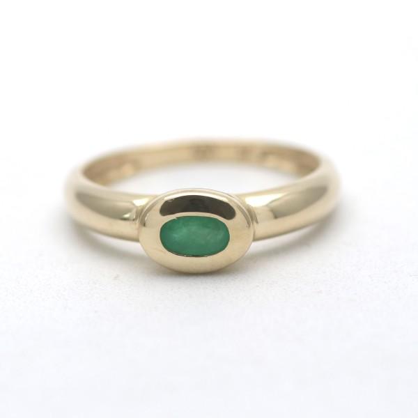 Smaragd Ring 585 Gold 14 Karat Gelbgold Edelstein 2,4 Gramm Wert 480,-