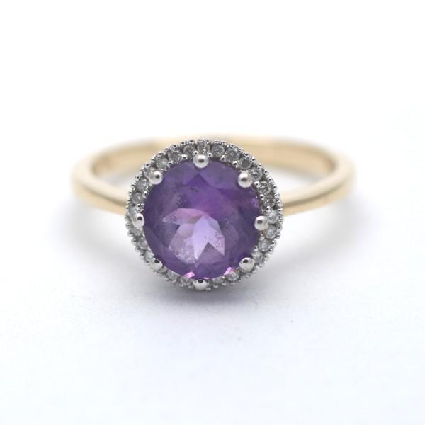 Amethyst Brillant Ring 750 Gold 0,30 Ct Diamant Bicolor Wert 1100,-