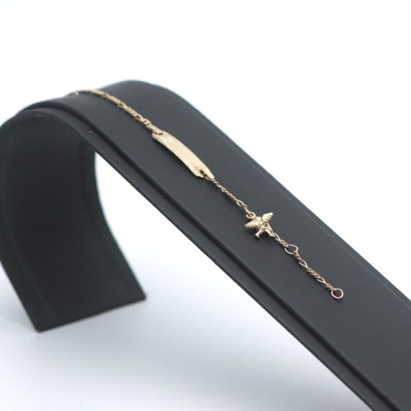 Kinder Armband 333 Gold 8 Kt Gelbgold Engel 14 cm Taufe Gravur Wert 199,-