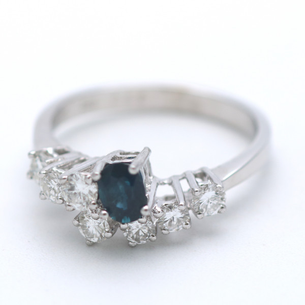 Brillant Saphir Ring 585 Gold 0,65 Ct Diamant 14 Kt Weißgold Wert 1500,-