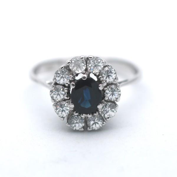 Saphir Ring 585 Gold 14 Kt Weißgold Zirkonia Wert 320,-