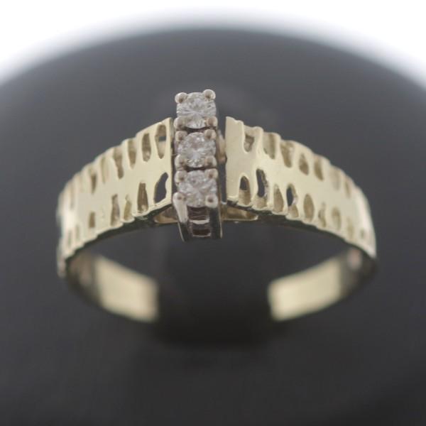 Diamant Ring 585 Gold 14 Kt 0,10 Ct Brillant Bicolor Vintage Wert 550,-