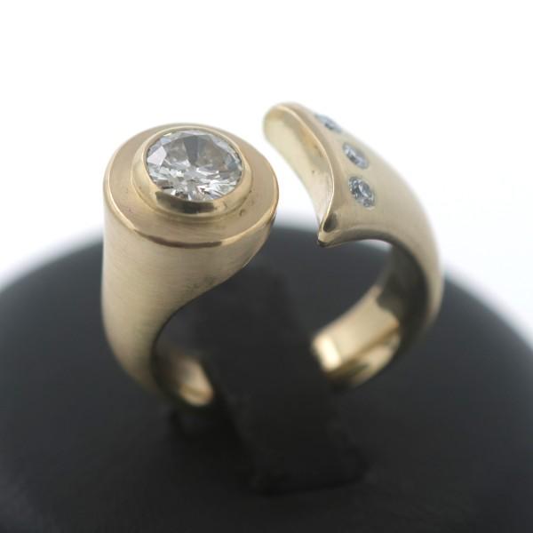 Ausgefallener Diamant Brillant Ring 750 Gold 18 Kt Gelbgold 1,12 Ct Wert 6150,-