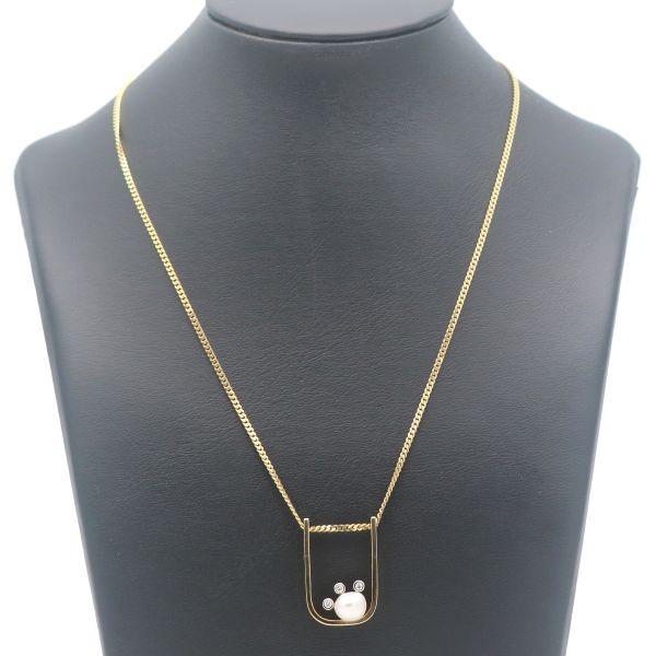 Diamant Anhänger mit Gold Kette 585 14K Gelbgold Perle Brillant Wert 1280,-