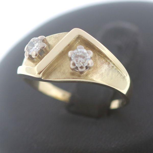 Brillant Ring 585 Gold 0,25 Ct Diamant 14 Kt Gelbgold Vintage Handarbeit Wert990