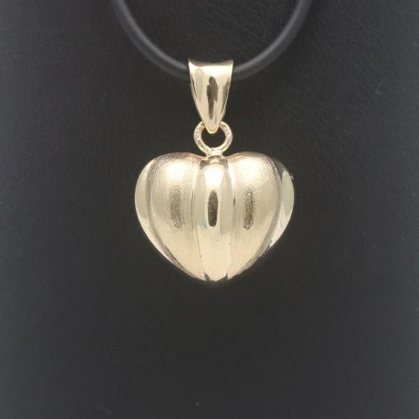Herz Anhänger 585 Gold 14 Kt Gelbgold Design Wert 420,-