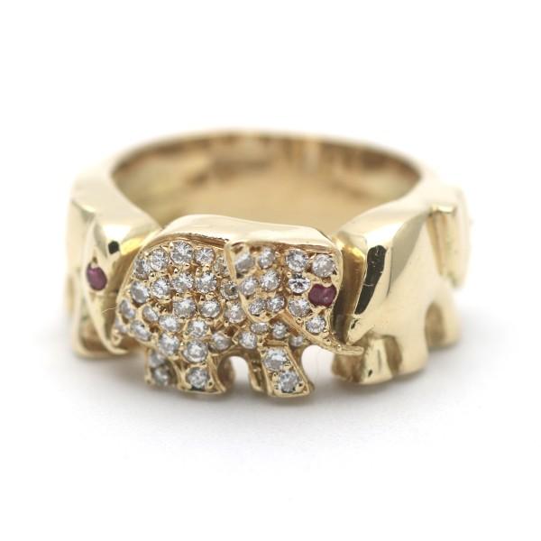 0,45 Ct Brillant Rubin Elefant Ring 750 Gold 18 Kt Gelbgold Diamant Wert 2500,-